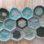 Blue and green crocheted hexagons